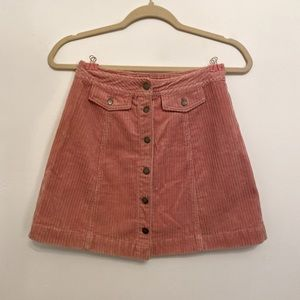 HM Pink Corduroy Mini Skirt
